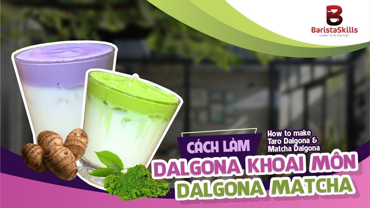 Công thức Dalgona khoai môn và Dalgona Matcha đơn giản tại nhà