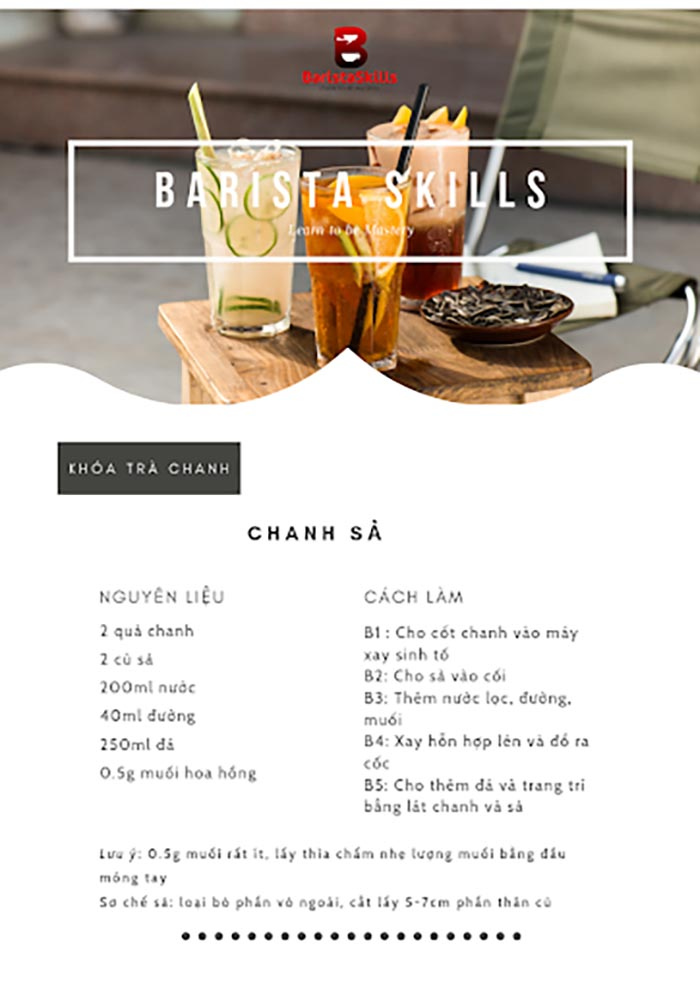 Công thức cách làm trà chanh sả