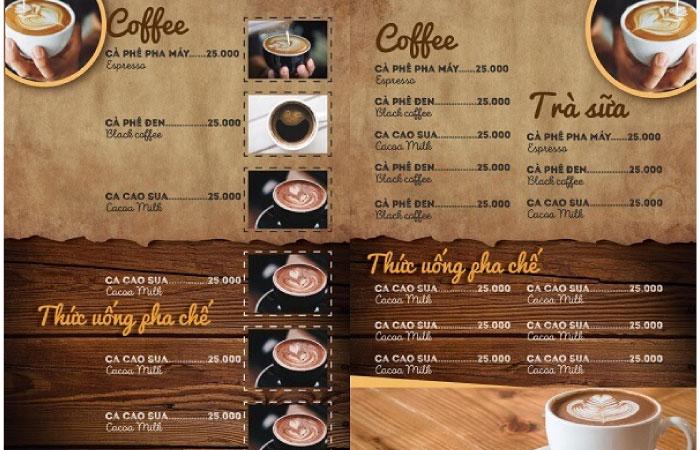 Lên menu cho quán cafe trong hẻm