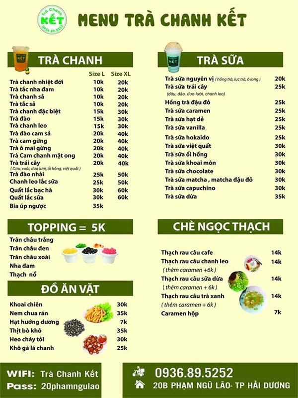 menu phù hợp
