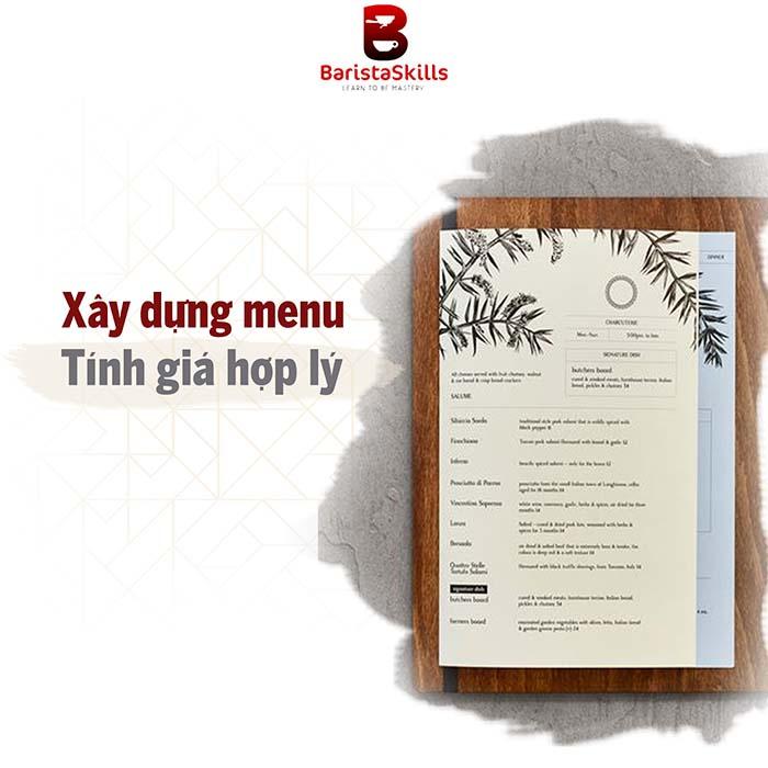 Dịch vụ setup quán cafe của Barista Skills hỗ trợ xây dựng menu, tính giá hợp lý